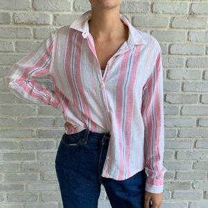 Linen Pink Striped Beach Lunch Lounge Shirt Sz M